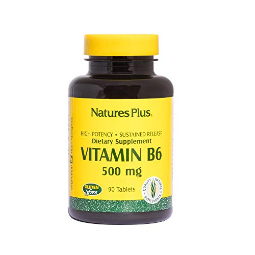 Natures Plus Vitamin B6 (Pyridoxine HCI) - 500 mg, 90 Vegetarian Tablets, Sustained Release - Energy & Metabolism Booster, Memory, Mood, Immune Support Supplement - Gluten Free - 90 Servings