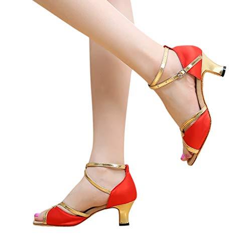 Ivy Over T-shirt - TANGSen Women's Rumba Waltz Prom Ballroom Latin Salsa Dance Shoes Fashion Casual Square Dance Shoes Red