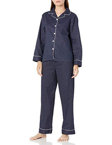 Alexander Del Rossa Women's Lightweight Button Down Pajama Set, Long Cotton Pjs