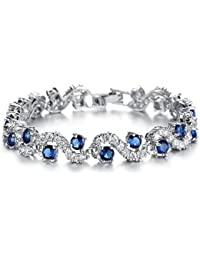 Blue Tennis Bracelet Women Cubic Zirconia Crystal Bangle...