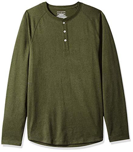 (Amazon Essentials Men's Slim-Fit Long-Sleeve Henley Shirt, Olive Heather, Medium)