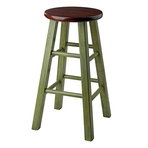 Winsome Wood Ivy model name Stool Rustic Green Walnut