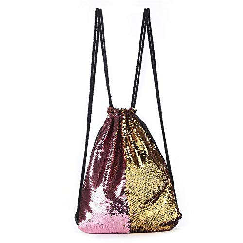 Fashion Double Shoulder Daypack Gold Lady Color European Ivyode Outdoor Rucksack Mermaid Drawstring Sequined American and Bag Double Pink Backpack Colorful Dazzle Women Xxxqpg
