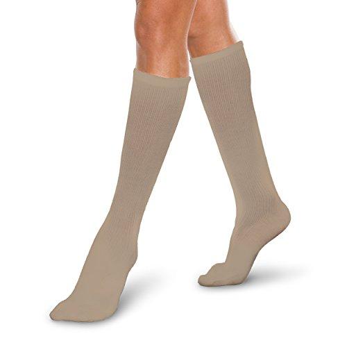 (Core-Spun 10-15mmHg Light Graduated Compression Support Short Knee High Socks (Khaki, Small Short))