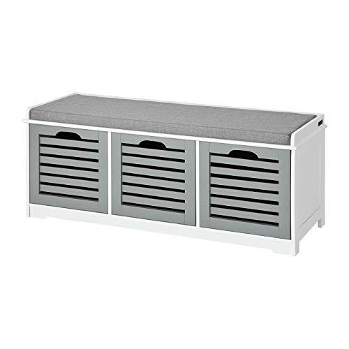 Sobuy Fsr23 Hg Banc De Rangement Avec Coussin Rembourré Et 3 Cubes Meuble D Entrée Commode à Chaussure Banquette Confortable