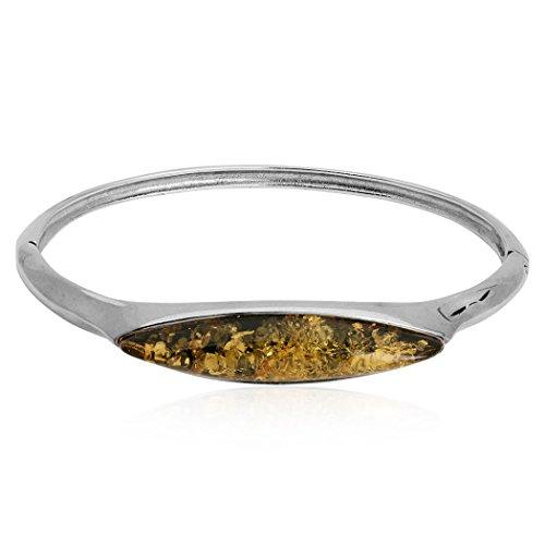 Marquise Ambre verte Argent Sterling Bracelet 17cm