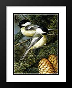 """Carl Brenders Framed and Double Matted Art Print 25x19 """"Chickadees"""""""