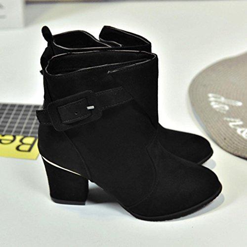 ... Oksale Kvinner Spenne Faux Varme Støvler Høye Hæler Ankel Boots Martin  Sko Svart ...