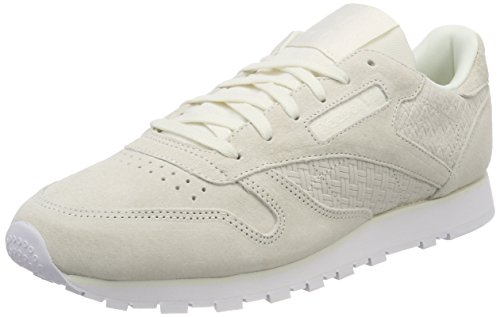 Beige Leather Emb Reebok chalk Femme white beige Classic Baskets Woven q6SgangY