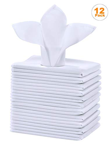 Cieltown Polyester Cloth Napkins 1-Dozen, Solid Washable Fabric Napkins Set of 12, Perfect for Weddings, Parties, Holiday Dinner (17 x 17-Inch, White) (White Napkins Fabric)