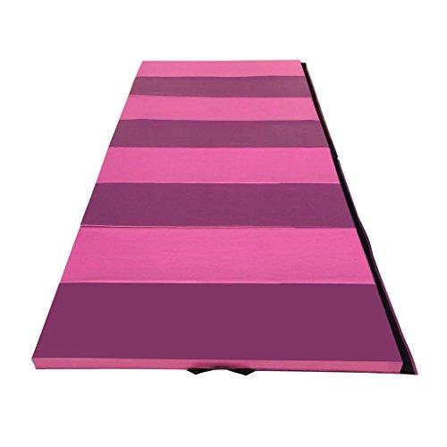 Gymmatsdirect 4'x10'x2' Gymnastics Tumbling Exercise Mat, High Density EPE Foam Core Folding Gym Mats, Pink/Purple Stripes