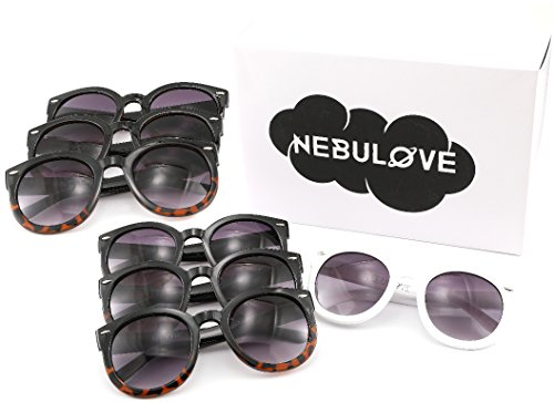 Nebulove Bride Tribe Bachelorette Sunglasses 7 Pack,1 White and 6 Black Bridal Favors For - Face Fat For Sunglasses Best
