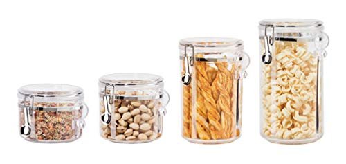 Mushroom Canister Set - Oggi 4-Piece Acrylic Canister Set with Airtight Lids and Acrylic Spoons-Set Includes 1 each 28oz, 38oz, 59oz, 72oz