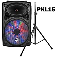 EMB PKL15 + Speaker Stand - 1700W 15 PA Rechargeable Speaker System w/ LED Lights - Built-in Bluetooth/SD/MMC/USB/Guitar Jack - MP3/WAV/WMA Playable + Wilress Microphone - FOR HOME KARAOKE PARTY DJ ENTERTAINMENT