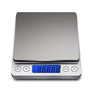 Digital Scales Kitchen (3kg, 0.1g), DUDES Stainless Steel Slim Design Portable Mini Electronic Food Weighing Scales with 2 Trays