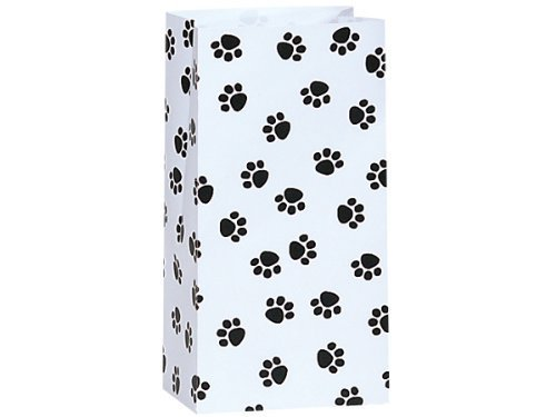 50/set Paw Print Black & White - All-occasion Paper Favor Gift Bags - 2lb - - Cat Black Bags Treat