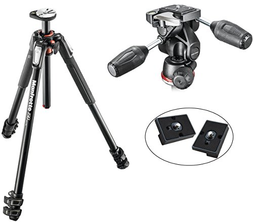 Manfrotto Manfrotto MT190XPRO3 3 Section Aluminum Tripod Kit w/ Manfrotto MH804-3WUS 3 Way head with RC2 in Adapto w/ retractable levers and 2 Replacement Quick Release Plates by Manfrotto