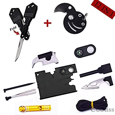 Multitool Knife Fathers Day Gift - 20 In 1 Credit Card Key Knife Wallet Tool - Multi-function Tactical Gear Kit Pocket Survival Tool Best Present for Dad Grandpa Boy Friend Him, Birthday Graduation by Coodss