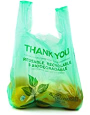 [100 Pack] Biodegradable Reusable Plastic T-Shirt Bag Eco Friendly Compostable Grocery Shopping Thank You Recyclable Trash Basket Bags