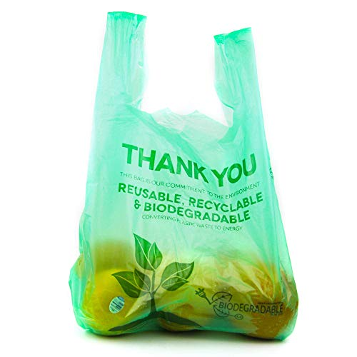 ([100 Packs] 1/6 Size Biodegradable Reusable Plastic T-Shirt Bag Eco Friendly Compostable Grocery Shopping Thank You Recyclable Trash basket Bags)