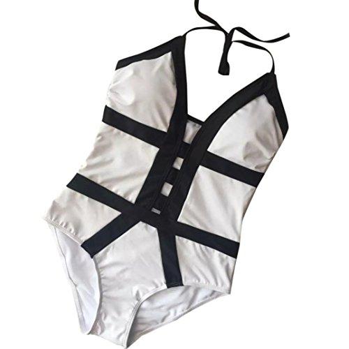 HARRYSTORE 2017 Traje de baño Monokini de una pieza de mujer Traje de baño acolchado de Beach Beach Bikini Beach Blanco