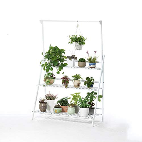 - Iving Room Hanging Multi-Layer Flower Stand Solid Wood Floor Balcony Meat Flute Basket Flower Pot Frame Simple Plant Display Stand (Color : White, Size : 100cm)