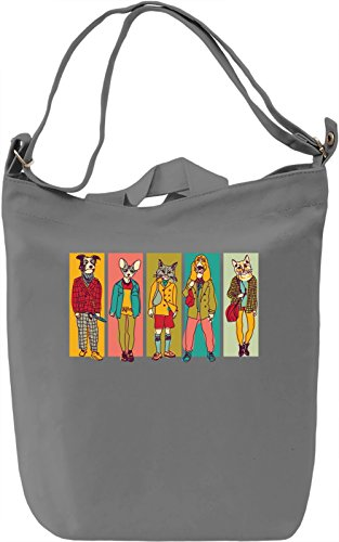 Hipster animals Borsa Giornaliera Canvas Canvas Day Bag| 100% Premium Cotton Canvas| DTG Printing|
