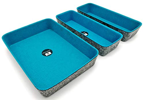 Welaxy Drawer Organizers dividers Storage Bins Office Organizer bin, Pack of 3 (Turquoise, 10.2x3.5x1.8in + 10.6x7.5x1.8in) by Welaxy