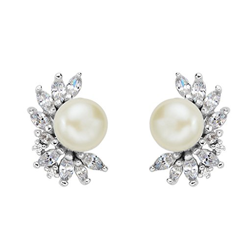 - EVER FAITH 925 Sterling Silver CZ 8MM Cream AAA Freshwater Cultured Pearl Fashion Stud Earrings Clear