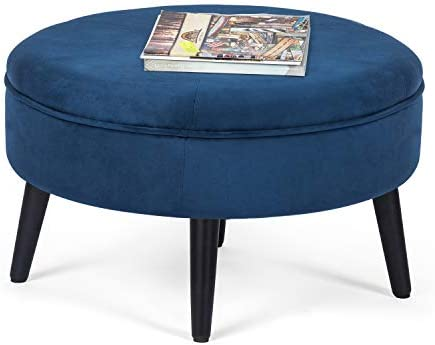 Adeco Round Tufted Fabric Footstool-23x23x14.5 Inch Ottoman bench foot rest, Blue
