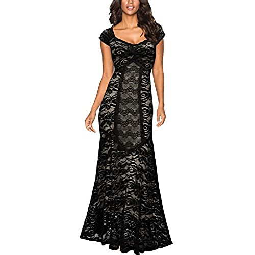Miusol Womens 1920s Deep-V Neck Floral Lace Wedding Party Maxi Dress ,Black,X-Large