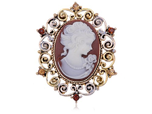 [Alilang Antique Light Dark Topaz Colored Rhinestones Vintage Inspired Cameo Woman Brooch Pin] (Colored Stone Costume Jewelry)