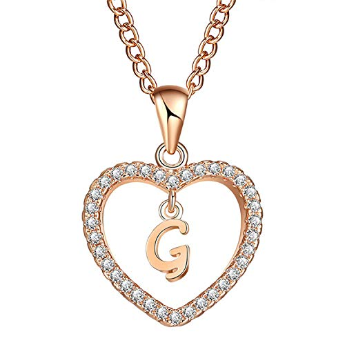 ihuoshang 2 Heart Letter Name Necklaces & Pendant for Women Necklace Word Cubic Zirconia DIY Statement Jewelry Gifts,C2651