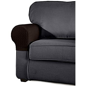 SyMax Spandex Armrest Cover Stretch Fabric Anti Slip Armchair Slipcovers  Furniture Protector Set Of 2(Chocolate)