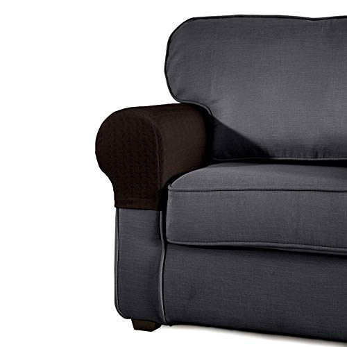 SyMax Spandex Armrest Cover Stretch Fabric Anti-Slip Armchair Slipcovers Furniture Protector Set of 2(Chocolate)