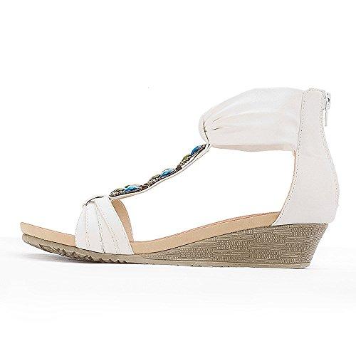 Alexis Leroy - Zapatos con tacón de cuña de estilo veraniego en forma de sandalia para mujer Blanco