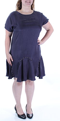 (Bar III Women's Ruffled Drop-Waist Shift Dress (Large,)