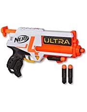 NERF Ultra Four Dart Blaster - inc 4 Official Ultra Darts - Single Shot Blasting - 2 Dart Storage - The Farthest Flying Nerf Darts Ever - Kids Toys & Outdoor Games - Ages 8+