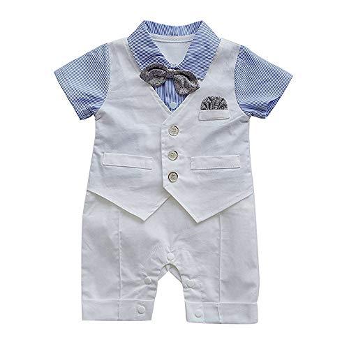 DDLBiz Infant Baby Boys Gentleman Waistcoat Bowtie Tuxedo Jumpsuit Romper Outfits (Blue, 12M) by DDLBiz