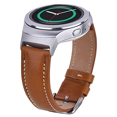 CAGOS Leather Strap Compatible Samsung Gear S2 Bands Women Soft Patent Leather Accessory Wristband Replacement for Gear S2 Sport Smart Watch Band SM-R720/R730 (Light Brown)