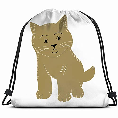 - cute cat design animals wildlife signs Drawstring Backpack Bag Gym sack Sport Beach Daypack for Girls Men & Women Teen Dance Bag Cycling Hiking Team Training 17X14 Inch
