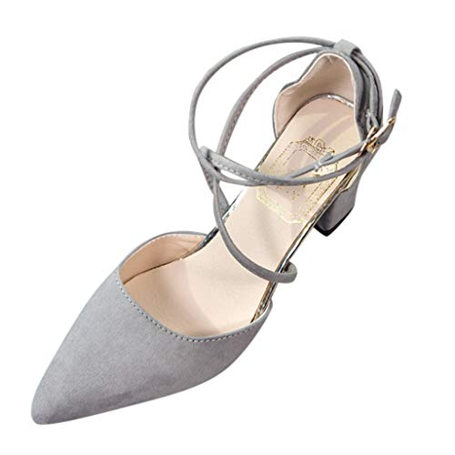 (Women's Chunk Low Heel Pumpss Sandals Casual Pointed Toe Square Shoes Cross Strap Buckle High Heel Sandals Gray)