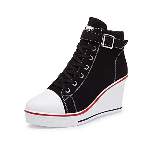 Kivors Women Girls Wedge Canvas Shoes High-Top Platforms Trainers Side Zipper Lace up Boots Sneakers