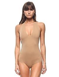 Halter Top Open Back Bodysuit in Nude