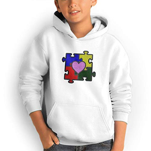 Shenhuakal Youth Hoodies Heart Puzzle Autism Ggirl%Boy Sweatshirts Pullover with Pocket White 30 by Shenhuakal