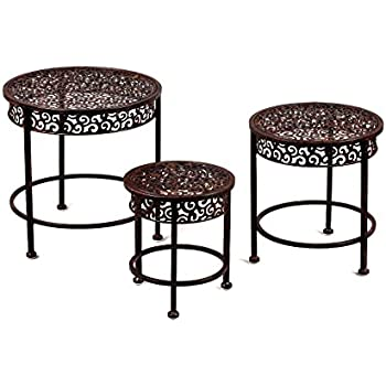 Round Metal Stand Table With Ornate Details  Set Of 3 In Mahogany Finish