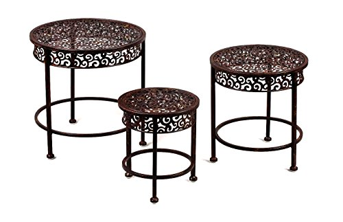 Round Metal Stand Table with Ornate Details- Set of 3 in Mahogany Finish (Outdoor Iron Table)