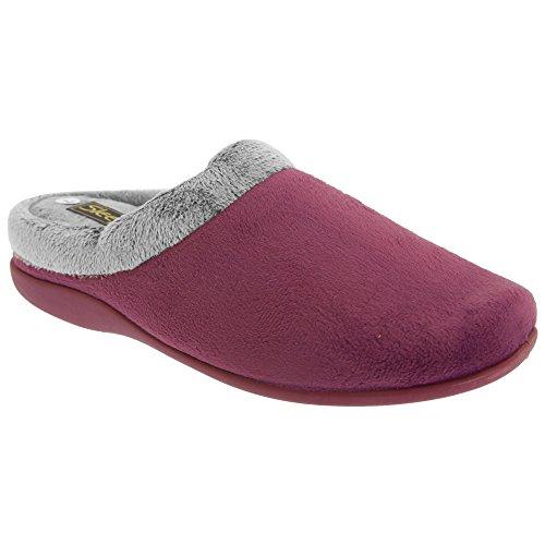 Zapatillas de estar por casa abiertas modelo Glenys con ribete de pelo para mujer Vino