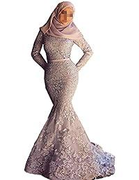 Womens Mermaid Islam Muslim Arab Africa Lace Applique Evening Dresses