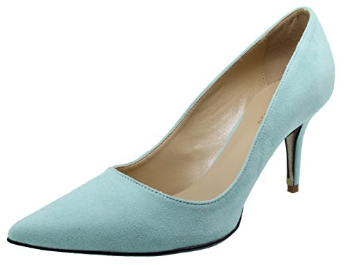 HooH Women's Flannel Pointed Toe Stiletto Pumps 012 Skyblue sVjoF2mvn
